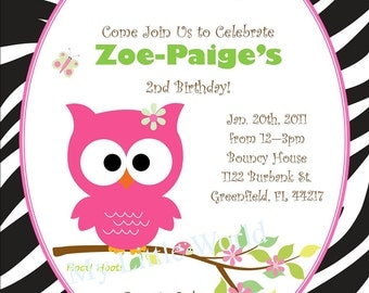 Safari Owl Invitation, owl invitation, owl birthday invitations, safari owl, owl, pink owl, owl birthday invitation, owl birthday