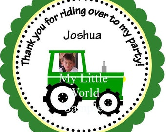 "On the Farm tags, labels or stickers (2-3/4"" circle) with tractor, barn and more"