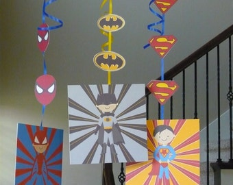Super Hero birthday hanging decorations with batman, spiderman & superman, MADE TO ORDER, super hero decorations, super hero birthday