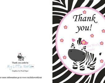 Zebra thank you cards, thank you cards, PRINTABLE Thank you cards, thank you card, zebra thank you card, zebra print thank you, pink zebra