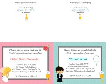 First Communion Pop Up Invitation for girl or boy (set of 12 cards with envelopes)