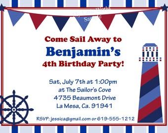 Nautical Birthday Invitation - DIY Printable 4x6 or 5x7