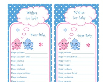 Baby Advice Cards, baby shower advice cards for Fraternal Twins DIY Printable