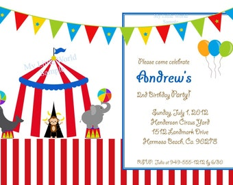 Circus Birthday Invitation, circus invitation, carnival cards or invitation