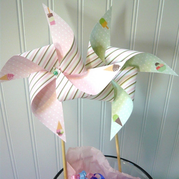 Icecream Pinwheels for birthday or baby shower 6x6