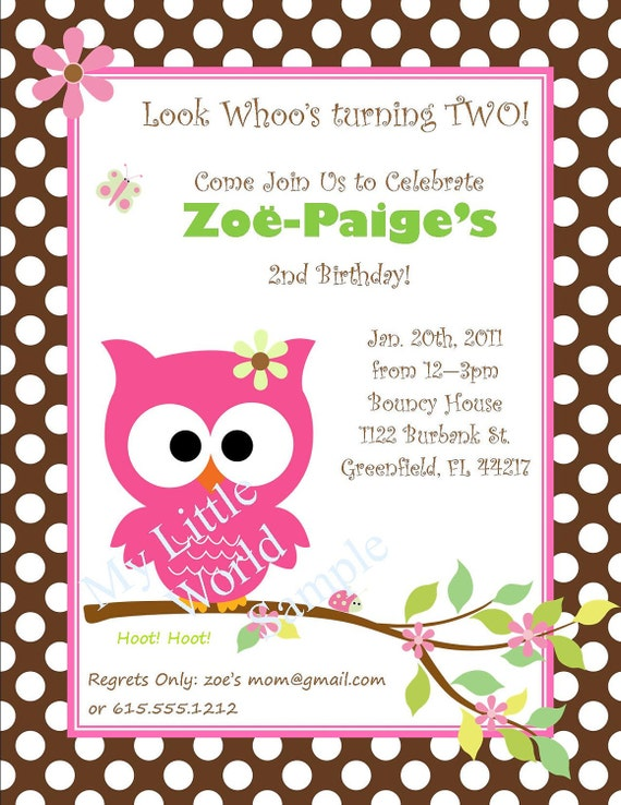 Owl Birthday Party Invitations Printable