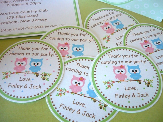 "Owl tags for gifts or party favor or use as labels, DIY PRINTABLE 2.75"" circles"