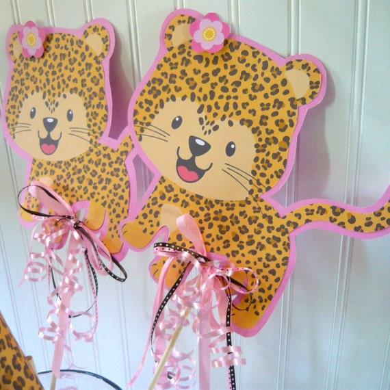 Leopard Birthday centerpiece/cheetah print/leopard print/birthday centerpiece/leopard birthday decorations/birthday decorations/leopard