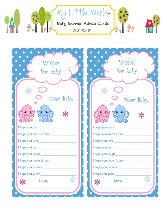 Baby shower advice cards for parents to be