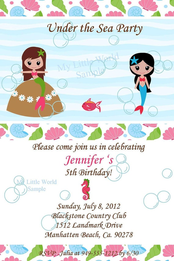 Mermaid Invitation, mermaid invitations for birthday or any occassion - DIY Printable 4x6 or 5x7