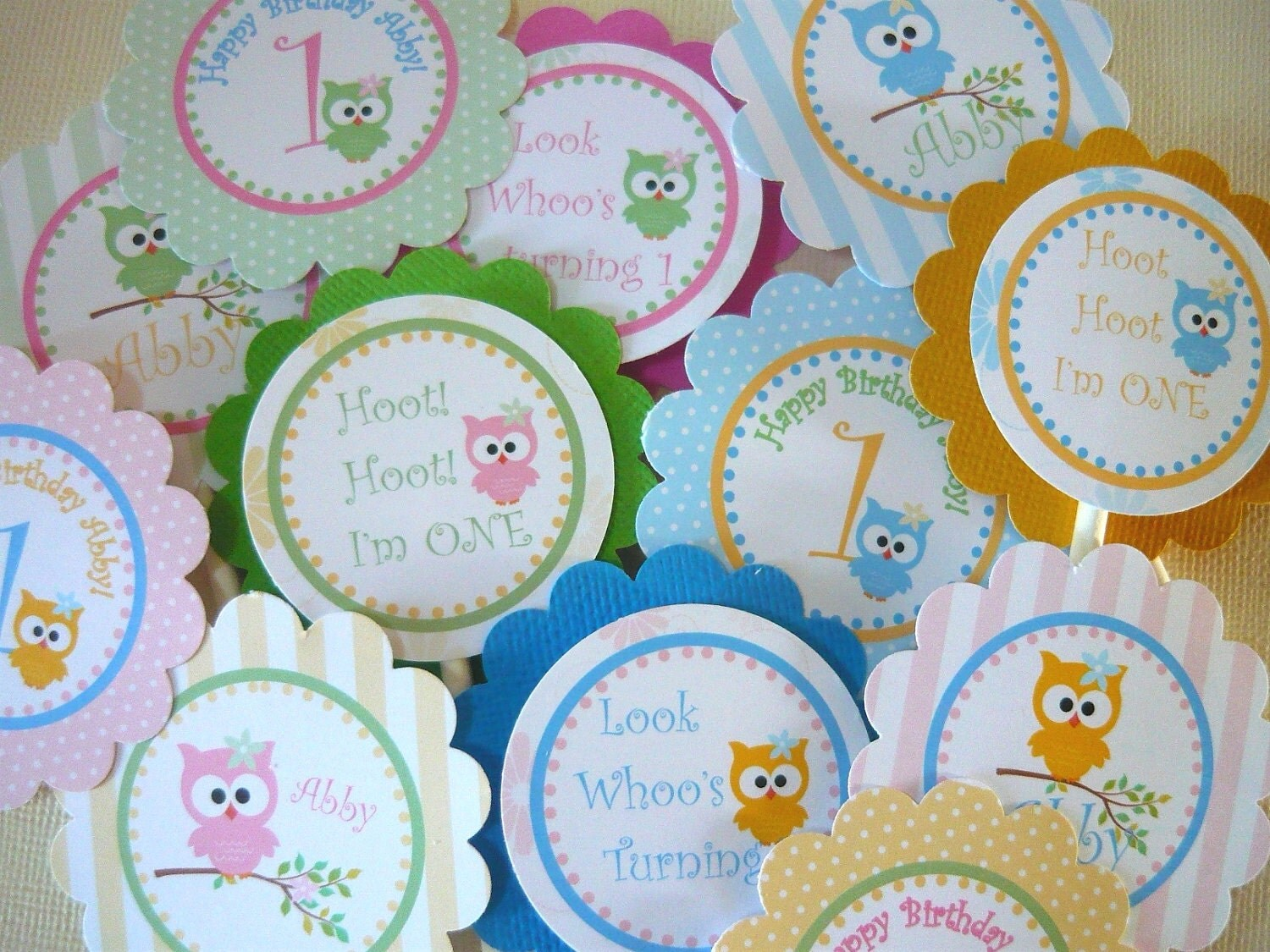 Owl cupcake toppers owl tags owl party tags party favor