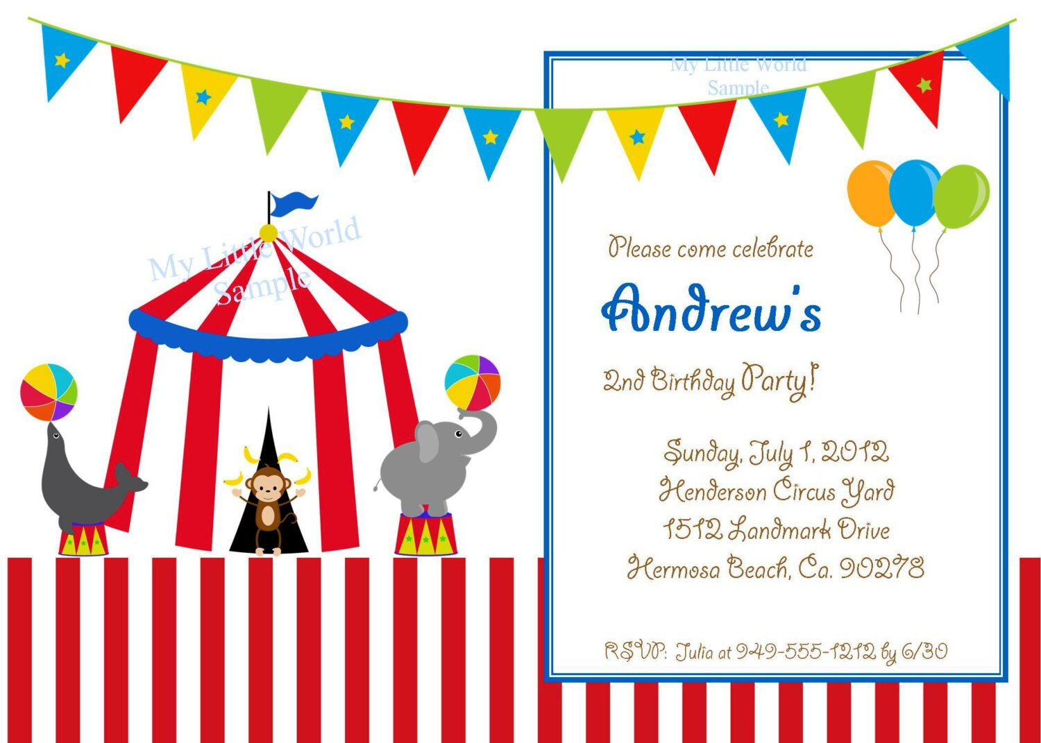 Circus Birthday Invitation Circus Invitation Carnival Cards - Birthday invitation cards circus