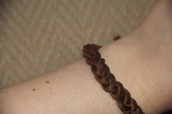 soft leather brown braided bracelet unisex