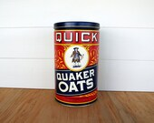 Reserved for Kate: VINTAGE QUAKER OAT Advertising Tin // Retro Vintage Kitchen Canister // Farmhouse Decor Container // Oatmeal