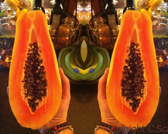 PARADISE - Original Modern Art Photography Custom Art Print: Papaya, Tropical, Fruit, Orange, Surreal, Avante Garde, Abstract, Food, Photo