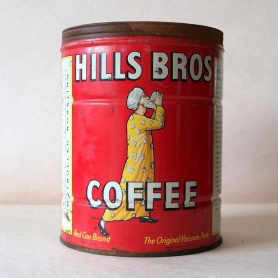 Vintage Classic 40's COFFEE CAN // Mid Century VINTAGE Advertising Tin // Hills Brothers circa 1940 // Red // Yellow // Retro