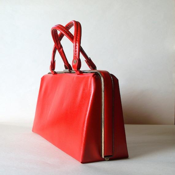 50s VINTAGE Lipstick RED PURSE // Fifties Mod Purse // 1950s Frame Bag // Leather // Handbag // Hand Bag // Metal Frame Purse