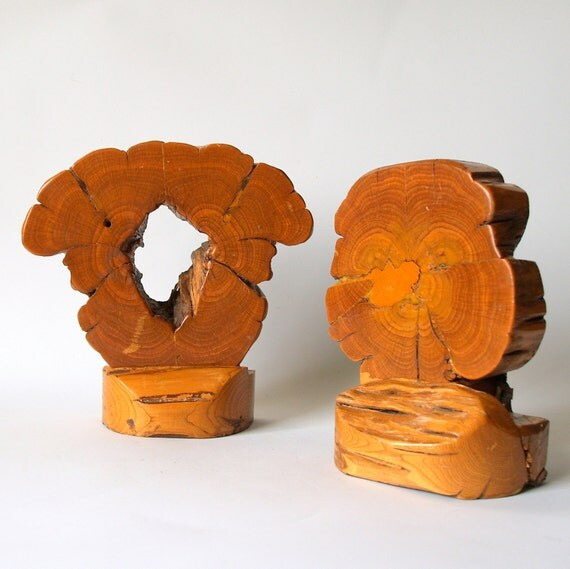 EAMES ERA Vintage Wood Slice Bookends // Mid Century Modern Clarks's Woodcraft Distinction 1960's Wood Slab // Wood Carving Natural Organic