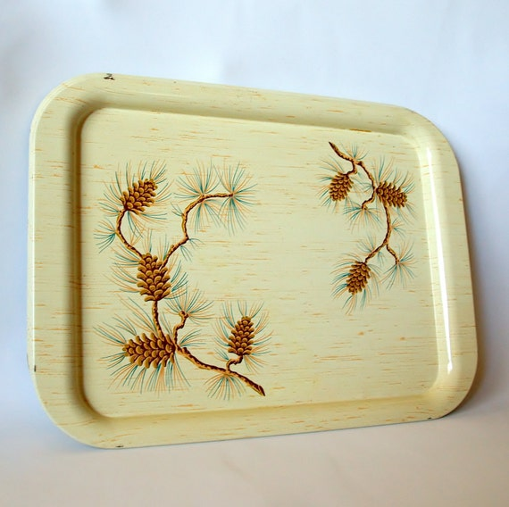 SERVING TRAYS 5 Piece Vintage Tray Set..  Aluminum Trays.. 1950s Mid Century TV Tray Collection with Faux Wood Grain and Pine Cone Motif