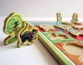 Vintage Alphabet Game Wooden Play Set Made in England Victory