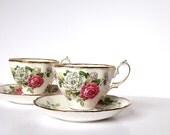 Vintage Royal Albert Bone China Teacups Floral Pattern Green Pink