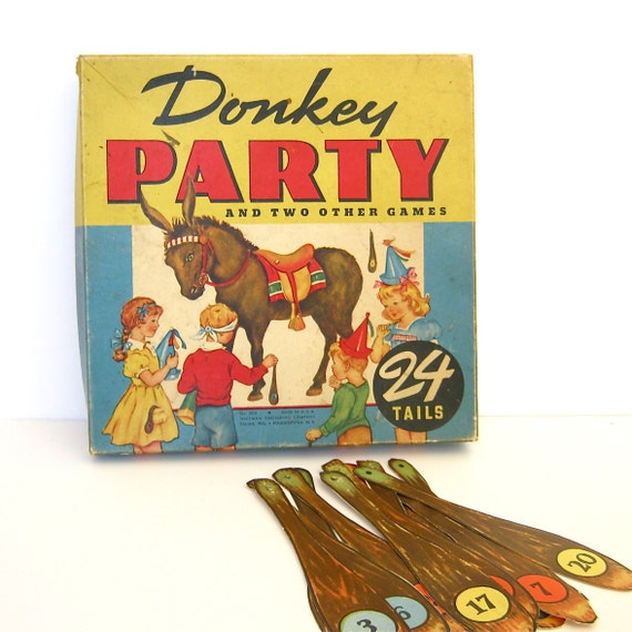 Vintage Game Pin the Tail on the Donkey Party Game
