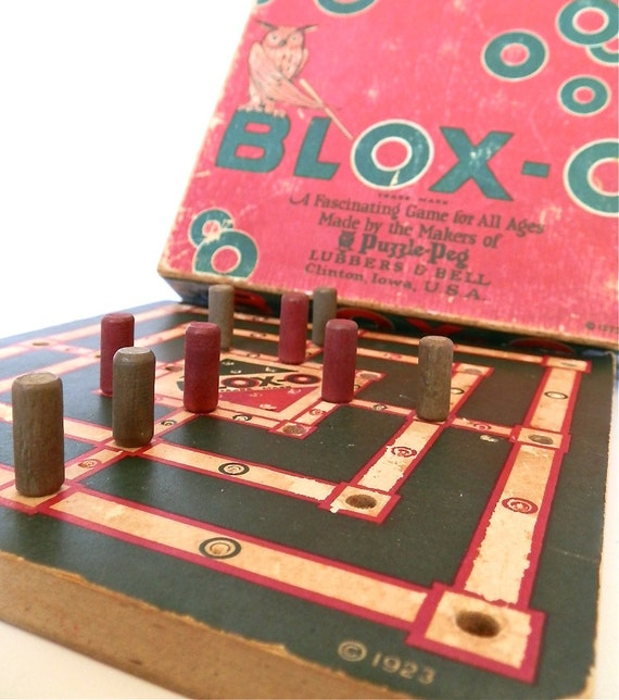 Vintage Family Game - Puzzle - Cribbage - Games For Kids - Rustic - Collectible - Hi-Q - Wooden Pegs - Owl