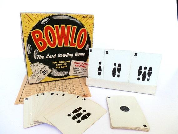 """Vintage Card Game """"BOWLO"""" Bowling Game"""