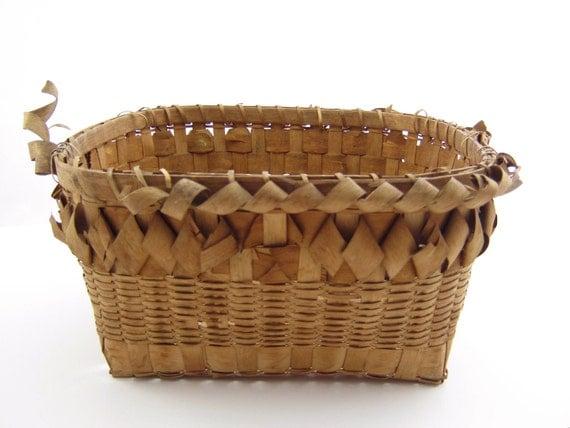 Antique Square Basket Handwoven Early American Vintage Basket Splint