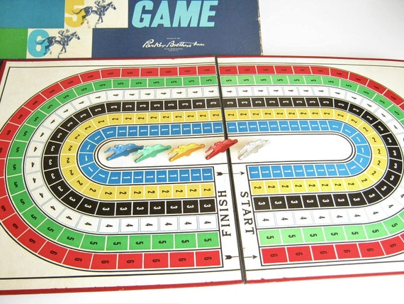 Vintage Board Game Horse Race Parker Brothers Game Pieces Colorful Game Board