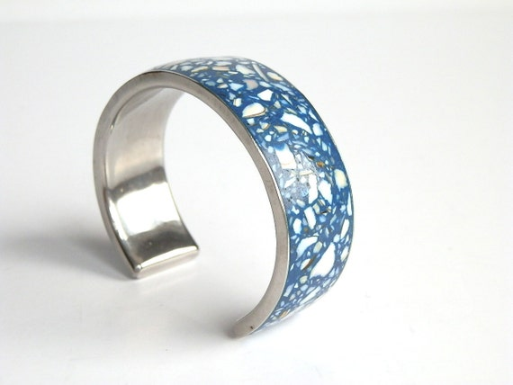 Vintage Bracelet Blue Enamel Cuff Artisan Confetti Silver Deep Blue Modern Bangle Modern Minimalist