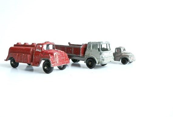 Mini Vintage Toy Trucks Diecast Metal Lesney England Dump Truck Collectible Home Decor Display