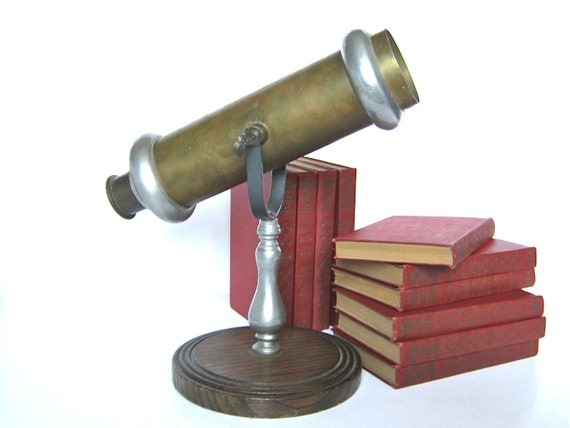 Vintage Brass Kaleidoscope Toy Wood Base