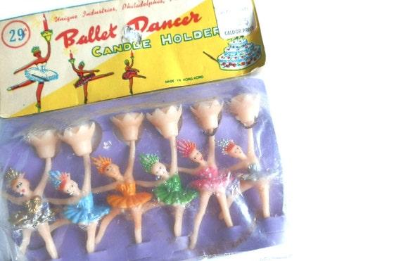 Vintage Birthday Cake Decoration Ballerina Birthday Candles Holder Ballet