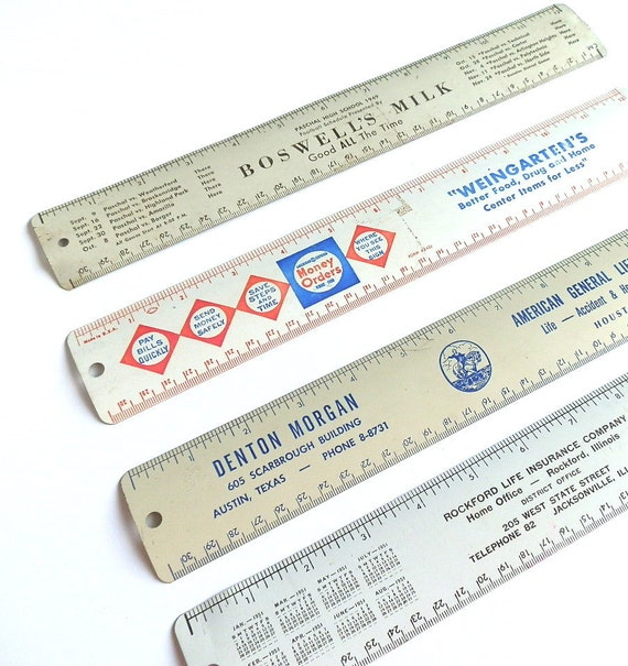 Vintage Advertising Rulers Tin Litho Rulers Office Decor