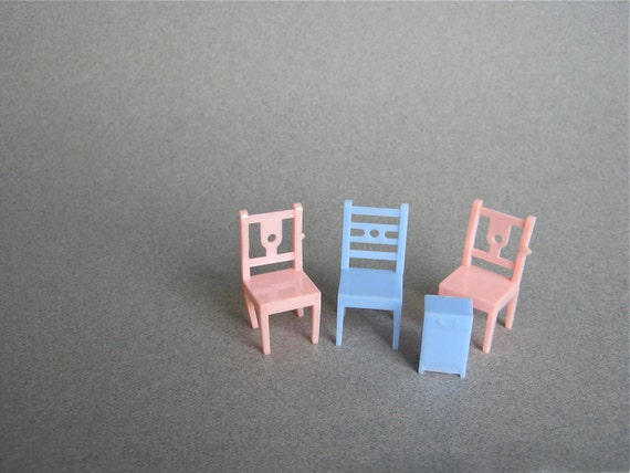 Vintage Doll House Furniture Pink Blue Chairs Nightstand Allied Made in USA