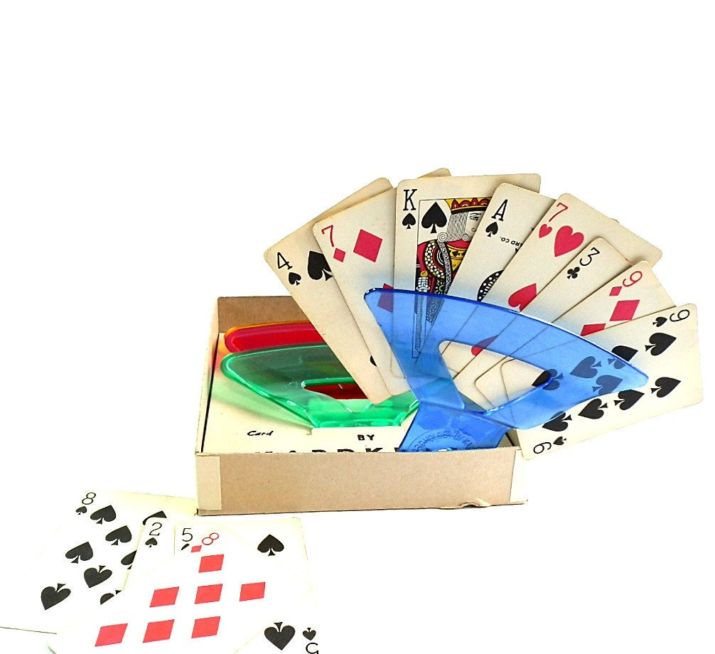 Vintage canasta playing card holders bridge by for Charity motors bridge card