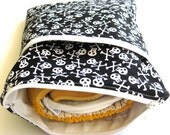 Diaper Clutch & Wet Bag in One, or Toiletry / Makeup Bag. Travel Size - black and white skulls, MADE TO ORDER