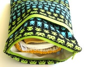 Space Invader Diaper Bag, Diaper Clutch, Wet Bag, Cloth Diaper, Geek, Baby Shower Gift, MADE TO ORDER