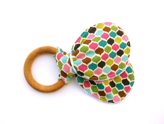 Wood Teething Ring, Wooden Teether, Baby Teething Toy, Cloth Teether, Organic, Baby Shower Gift for Girl
