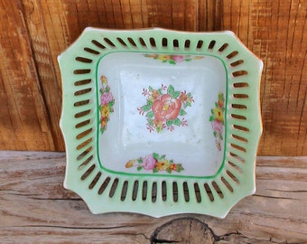Vintage Green SCALLOPED RETICULATED Green Gold and Floral Square Dish Red Stamped Made in Japan