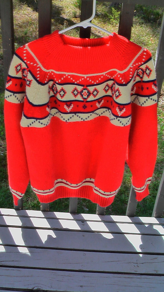 Vibrant Red Vintage JC Penny FIR Retro Ski Sweater Womens Size XL / Mens Size L