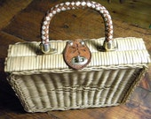 Woven basket hand bag or tote made in British Hong Kong 50s or 60s