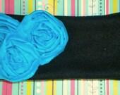 Turquoise Rosette Fleece Head Warmer