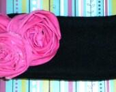 Pink Rosette Fleece Head Warmer
