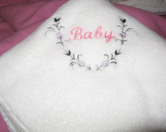 Fleece Baby Blanket Embroidered Pink Baby Floral Wreath
