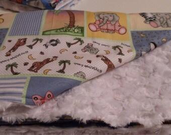 Baby Blanket White  Swirl  Minky and Zoo Blocks