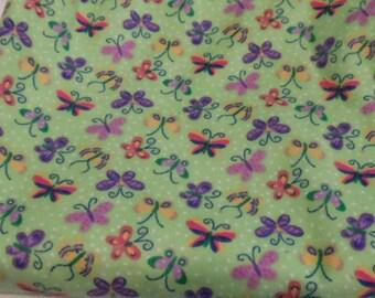 Butterflies Baby Blanket  Car Seat Cozy Cute Butterflies Flannel Fabric