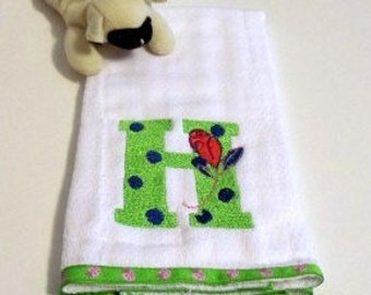 Baby Burp Cloth Embroidery Lady Bugs and Rose Blossom