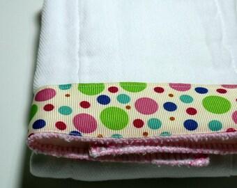 Burp Cloth- Polka Dots on Cream Ribbon Bibs and Burping